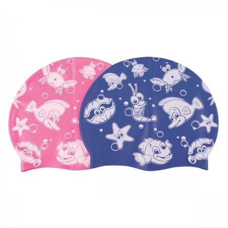 Bonnet silicone enfant décoré - bleu