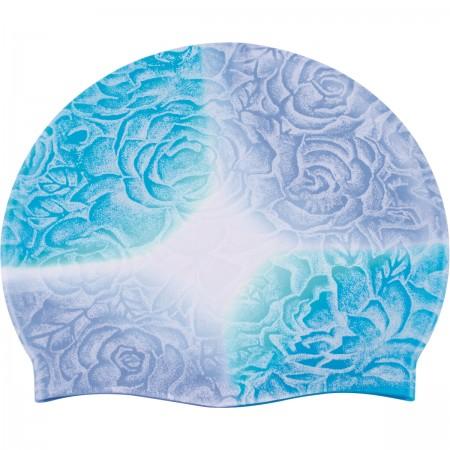 Bonnet silicone adulte fleuri bleu