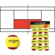 Lot de 12 balles de tennis DUNLOP Stage 3