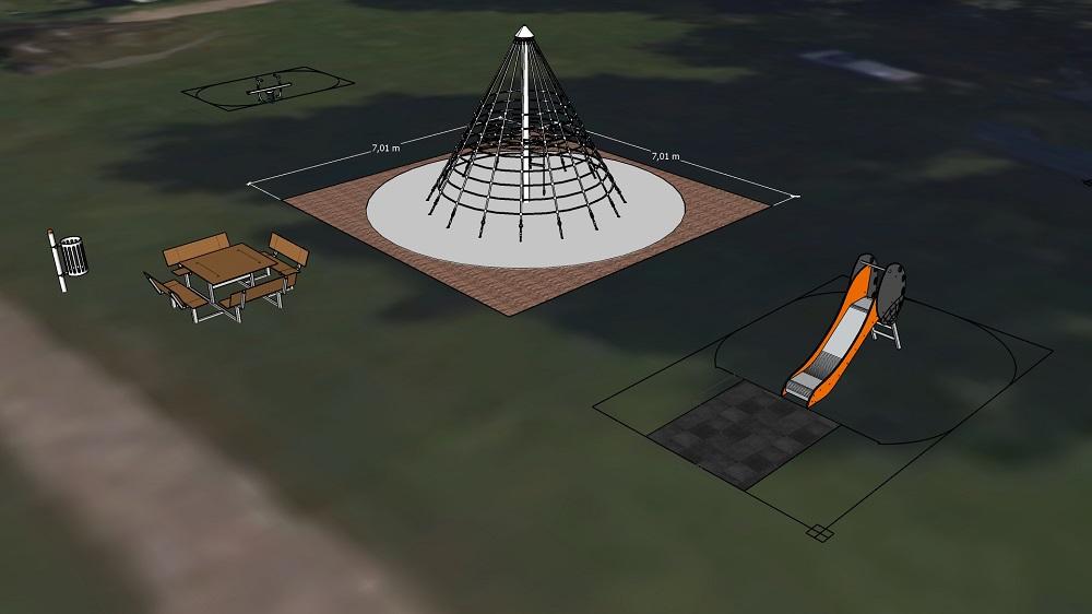Plan 3D d'un projet d'aire de jeux à Dalhem