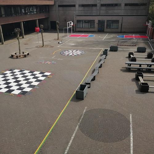 Exemple d'un projet d'aménagement de la cour de récréation réalisé par Idema