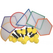 Kit de 6 raquettes géométriques et balles coton