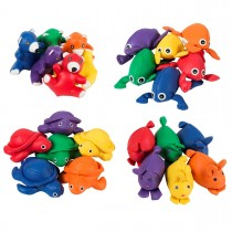 Set van 6 gevulde diertjes